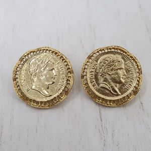 Vintage Coin Gold Tone Napoleon Earrings